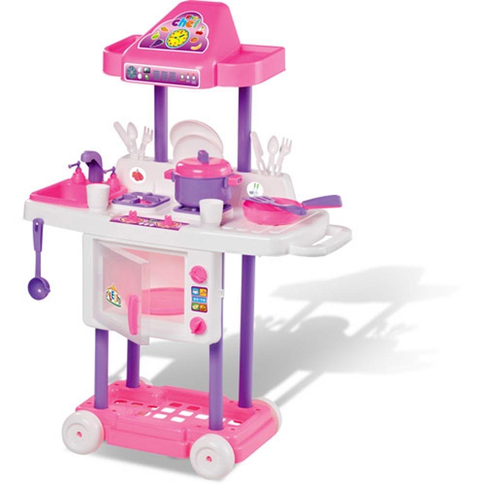 Cozinha Infantil Riva Chef Rosa Com Rodinhas Calesita Cal1302